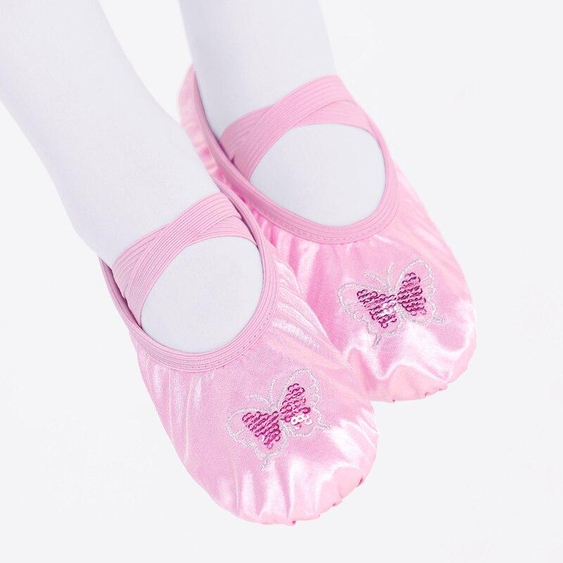 Детские атласные балетные туфли танцевальные Тапочки для девочек