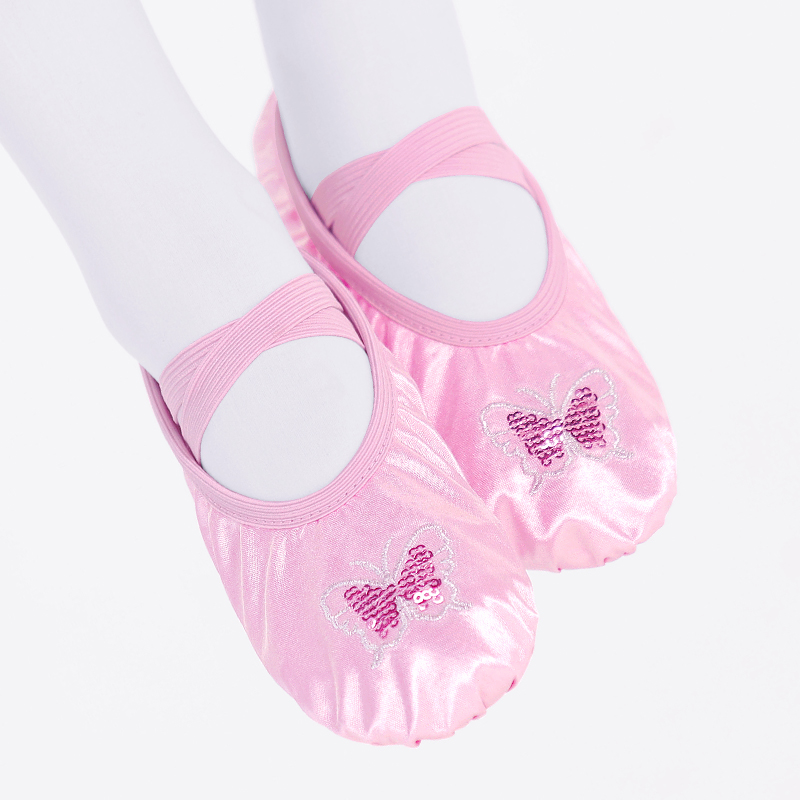 Satin Ballet Shoes Children Dance Slippers Girls Toddler Sequins Embroidery Flats for Kids