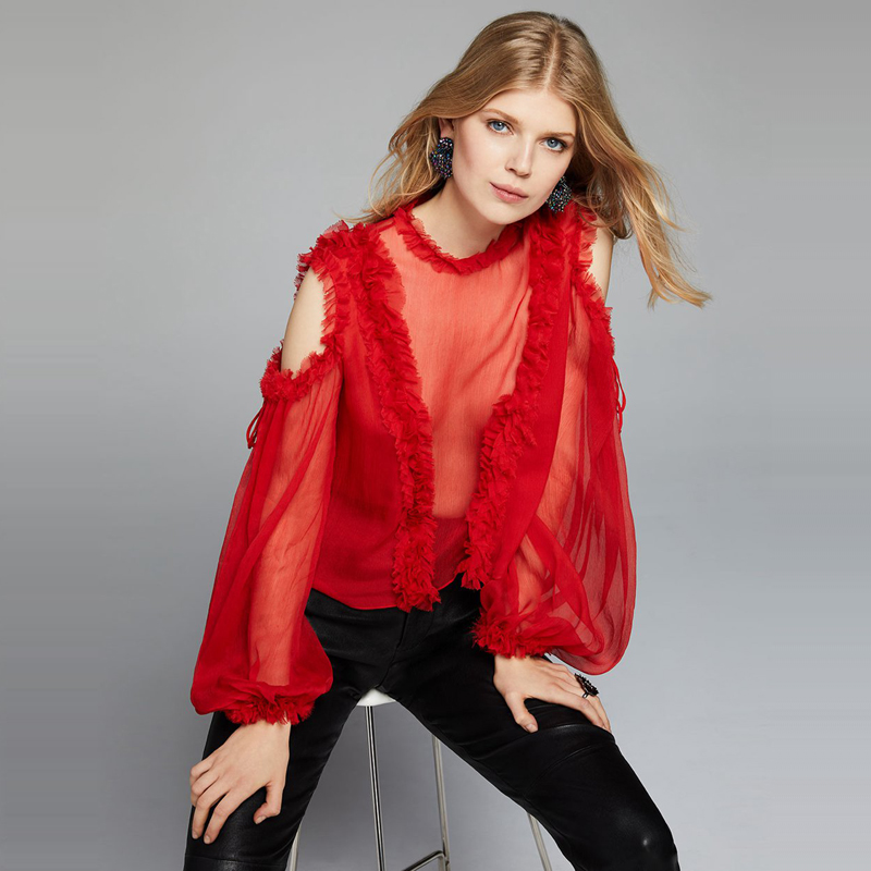 See Orange Sexy Georgette Off Shoulder Ruffle Top Elegant Puff Sleeve Red Shirt Blouse Womens Tops and Blouses SO3369