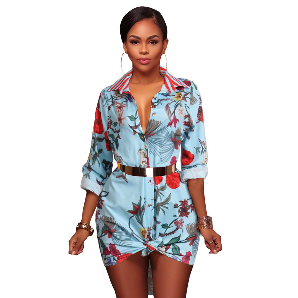 African Costume Women T shirt Fantastic Long Sleeved Dress Floral Black Chain Printed Fashion Miniskirt Fall Vintage Part Dress in Dresses from Women 39 s Clothing