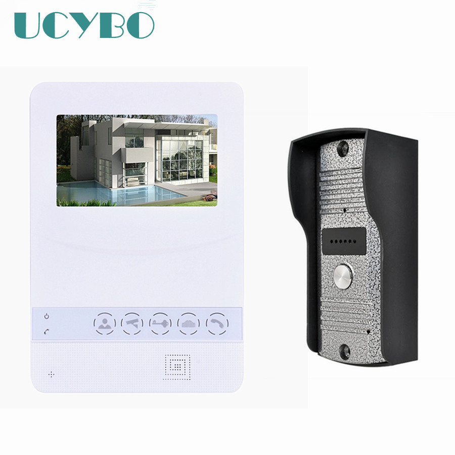 4.3 lcd touch key wired video door phone intercom outdoor camera IR nightvision video doorphone system doorbell monitor unlock