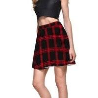 Slim Stretch Women Red Black Plaid SKIRTS Sexy Sweet Palace Summer Style Women Digital Print Plus