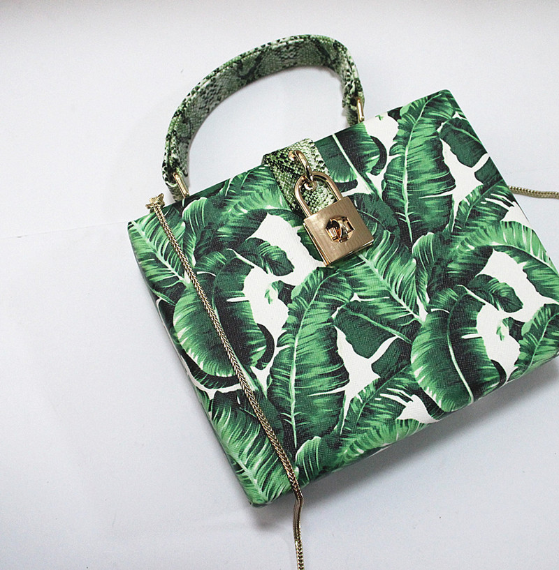 18 Women messenger bags Brand New Elegant Spring Summer Shoulder diagonal Box Bag Woman leave Print art Clutch banquet Handbag 12