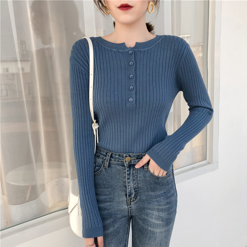 Shintimes Button Korean Style Women Sweater Knitted High Elastic Solid Winter Fashion Pullovers Sueter Mujer Invierno 2019 White