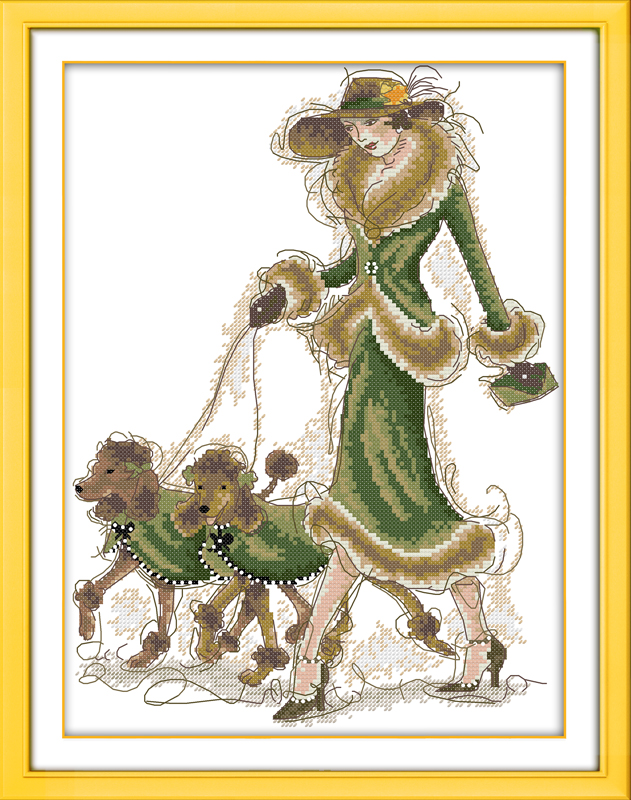 Lady And Dogs Cross Stitch Kit People 18ct 14ct 11ct Count Print Canvas Stitches Embroidery DIY Handmade Needlework