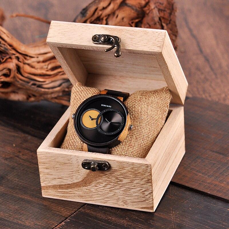 Watch Men 2 Time Zone Wooden Quartz Watches Women Design Men's Gift Wristwatches In Wooden Box W-R10 5