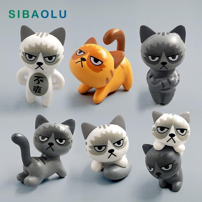 6pcs//set  Kitten Toys Angry Cat  Resin Miniature Figurine Desktop Home Decor