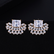 SisCathy Handmade Full Cubic Zirconia Earrings For Women Luxury Bridal Wedding korean Stud 2019 Fashion Jewelry