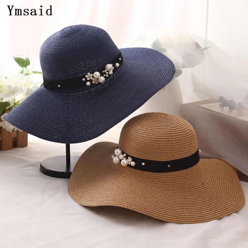 Ymsaid 高品質夏の太陽の帽子大つばバイザー黒、白フロッピー帽子真珠女性ビーチ帽子