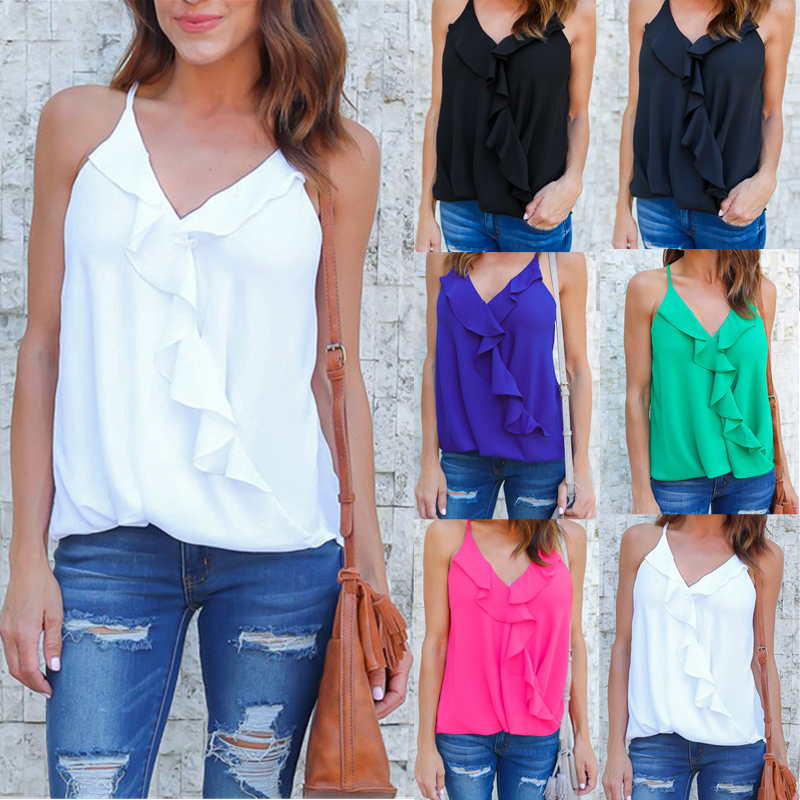 Celmia 2018 Summer New Womens Sexy Ruffles Tank Tops Spaghetti Strap V neck Vest Lady Casual Loose Solid Camis Shirts Camisoles