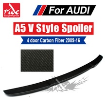 Fits For Audi A5 4-Doors Sedan Rear Spoiler Wing Tail V-Style A5Q Carbon Fiber Trunk car styling 2009-2016