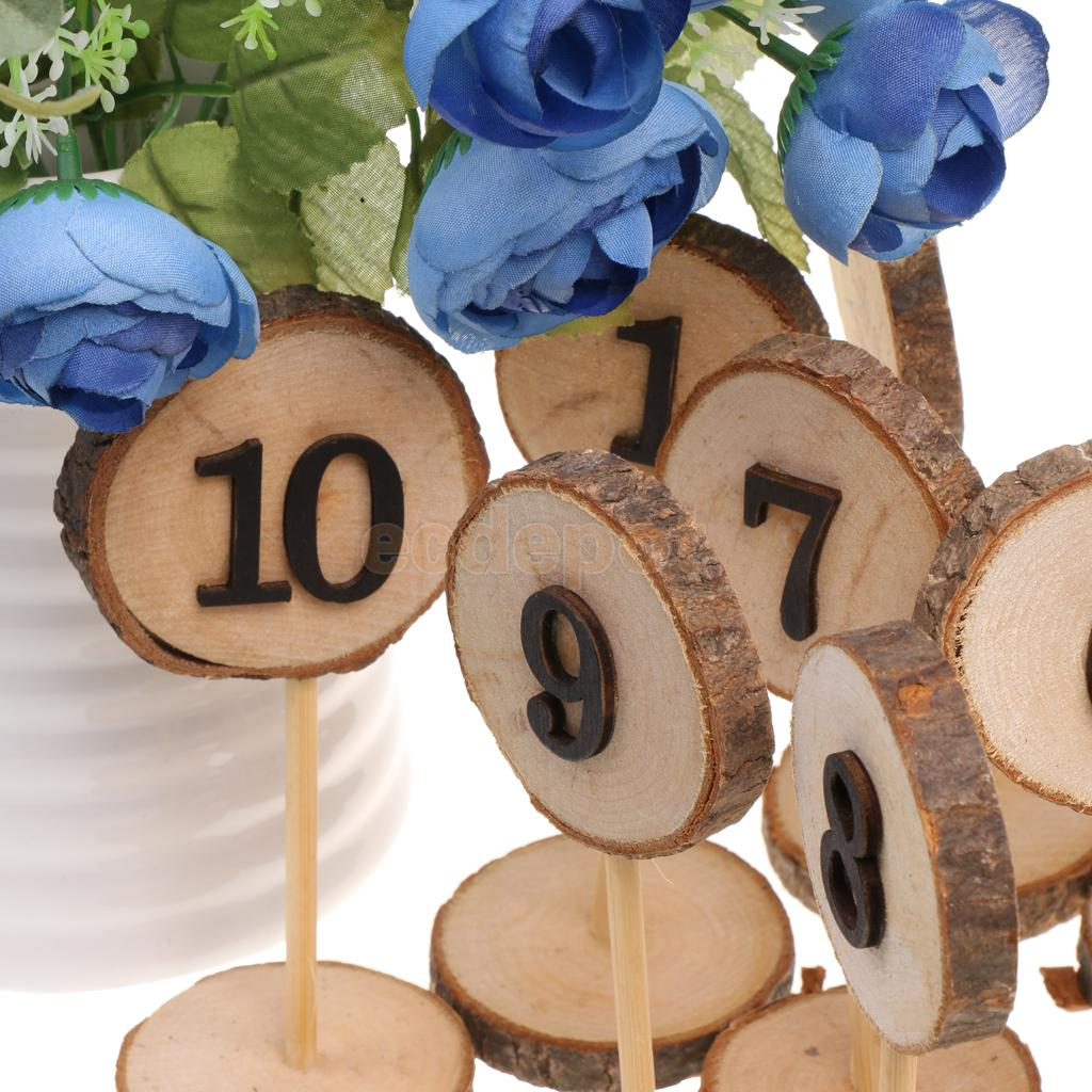 Rustic wooden 1 10 table numbers place numbers log slices for 1 to 10 table