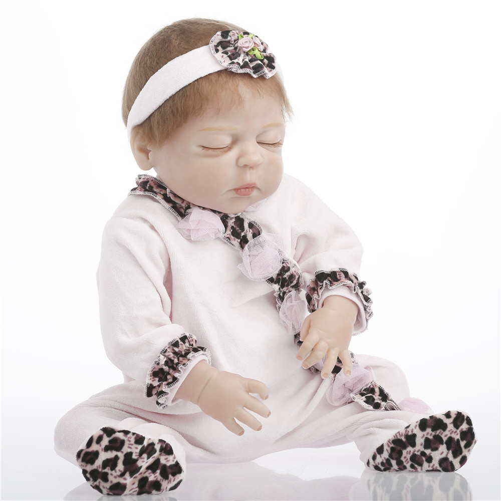 22 inch 57cm baby reborn Silicone dolls, lifelike doll reborn babies toys Pink conjoined doll festival gifts