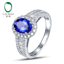 Free shipping 14KT/585 White Gold 1.34ct Tanzanite 0.7 ct Diamond Engagement Gemstone Ring Jewelry
