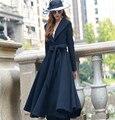 2016 Otoño y el Invierno de La Manera Da Vuelta-abajo Medio-largo Outwear Chaqueta de Lana Negro Abrigo de Manga Larga Femenina Abrigo de lana