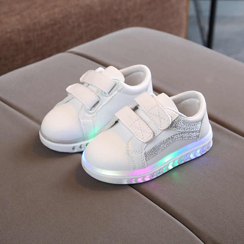 5012cf5f538 LED lighted sports sneakers baby rubber solid 5 stars baby casual shoes  Lovely girls boys infant