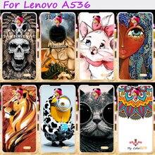 Plástico rígido & soft tpu tampa do telefone para lenovo a536 a358t um 536 casos silicones legal do crânio amoroso asseclas acessórios flor capô