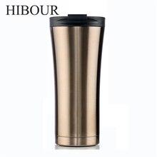 HIBOUR Mode Becher Isolierflasche Double Wall Edelstahl Kaffee Thermoskanne Tassen Tassen Thermische Flasche 500 ml Thermocup