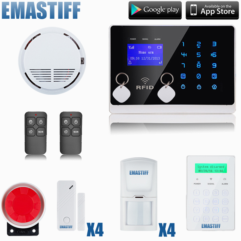 Touch LCD Keyboard GSM Alarm System Home Security Alarm System With password keypad ,smoke/fire Sensor Detector programmable usb emulator rs232 interface 15keys numeric keyboard password pin pad yd531 with lcd support epos system