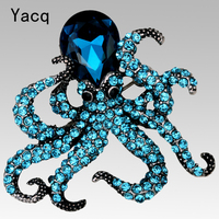 Octopus Brooch Pin Antique Gold Silver Plated W Crystal Animal Bling Women Jewelry Gift Wholesale Dropship
