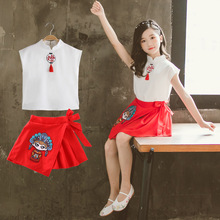 Girls tang suit two-piece childrens han clothing version casual short sleeve wholesale summer shorts sportswear