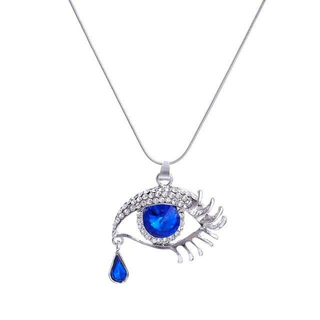 c1db043f4 € 1.15 15% de réduction Femmes oeil pendentif colliers pas cher bleu foncé  goutte d'eau strass cristal collier argent plaqué Collares Femme ...