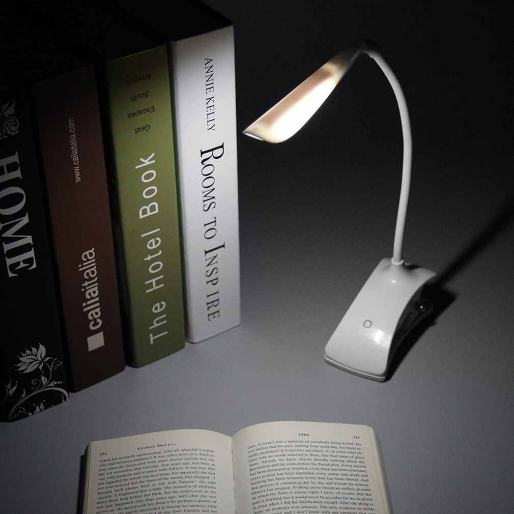Dimmable Clip-On USB Rechargeable Touch LED Reading Light Desk Table Lamp LAD-sale