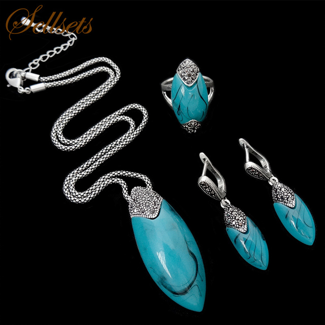 Sellsets 2017 New Design Antique Turkish Jewellery Set Retro Crystal And Blue Resin Silver Color Vintage Jewelry Sets For Women