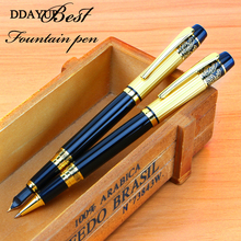 New Fountain Pen Meduim Nib Metal Golden Color Sign Pens And Elegant Upscale Roller Ball Office School Stationery Supplies dika wen luxury fashion beautiful golden carving mahogany paint medium nib roller ball pen new
