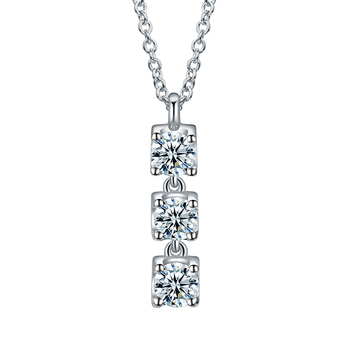 Wedding Gifts Jewelry Real 18K White Gold Round Shape Moissanite Diamond Chain Necklaces pendants For Women 1
