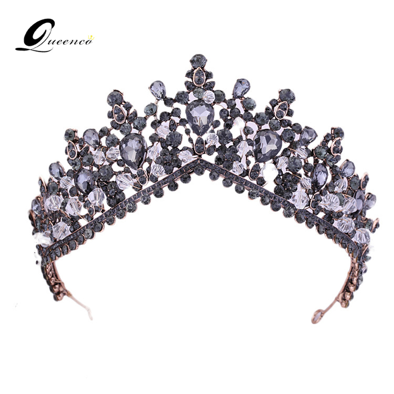 Light Purple Prom Tiara Bridal Crown Wedding Tiara Hair Accessories Crystal Beads Vintage Party Headpiece Bridal Headbands