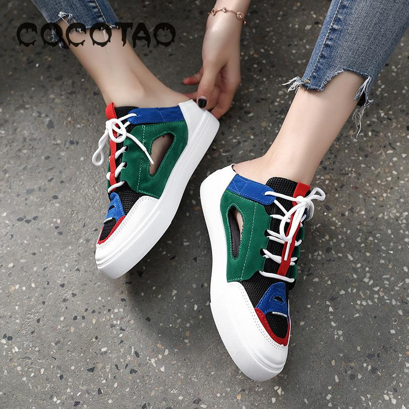 Ins Half dragged Fairy Wind 2019 New Summer Net Red Flat Bottom Korean Version Baitao Baotou Sports Student Shoes Tide24 in Women 39 s Vulcanize Shoes from Shoes