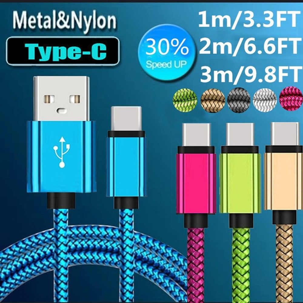 Câble de USB Type C pour Samsung S10 S9 Xiao mi mi 9 données de charge rapide chargeur de téléphone câble type-c câble USB-C cordon pour Huawei P30 20