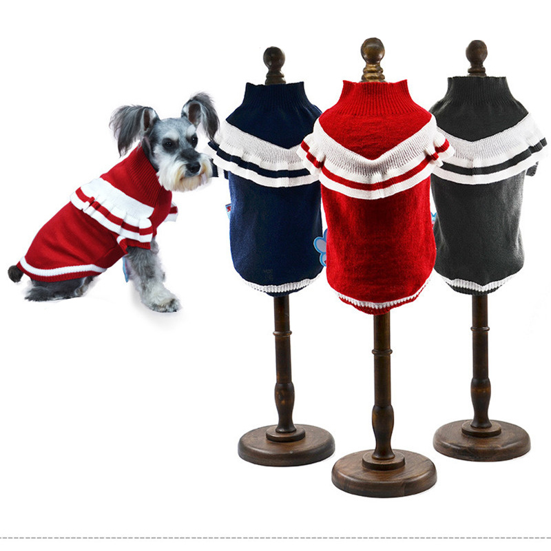 Woolen Wave Strip Dog Sweaters For Small Dogs Fashion Sporty Warm Dog Clothes for Chihuahua FY003
