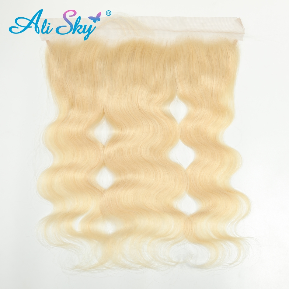 Ali Sky Brazilian Body Wave 13*4 Lace Frontal Closure 100% Human Hair 8-20 Inch 613 Blonde Hair Extensions Free Shipping Remy