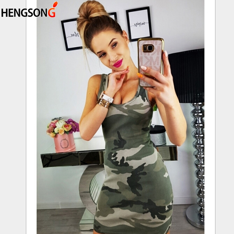 HENGSONG New Fashion Camouflage Print Bodycon Dress Sexy Camouflage Print Slim Sleeveless Dress O-Neck Summer Mini Dresses