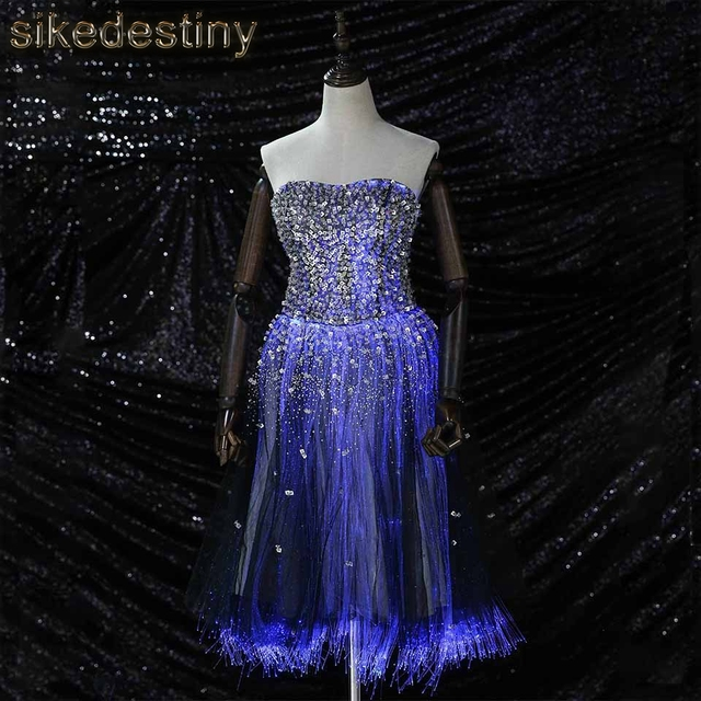 luminous prom dress 2018 knee length lace up fiber optic glow in the