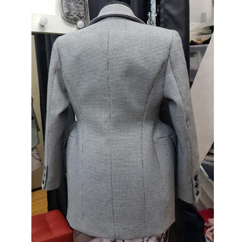 Kadın Giyim'ten Blazerler'de AEL Ekose kadın Blazer Uzun Kollu Yaka Yaka Cep Ince Kadın Ceket Bahar Ofis Bayan Moda Giyim'da  Grup 2