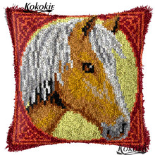 Horse Crocheting Rug Yarn embroider Needlework kits 3d carpet cross stitch sets sale Threads embroidery Latch Hook Rug Kits(China)