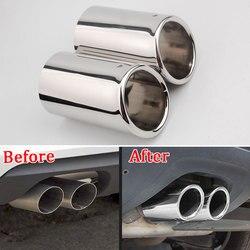 2 sztuk/zestaw dla AUDI Q3 rur wydechowych rura wylotowa końcówka wydechu finiszer koniec rury chromowane wykończenia stylizacji w Chromowane wykończenia od Samochody i motocykle na