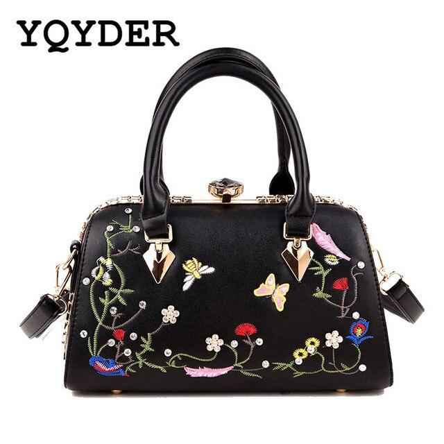 Luxury Handbags Embroidery Women Bags Designer Brands Flower Erfly Female Shoulder Leather Tote Las Hand