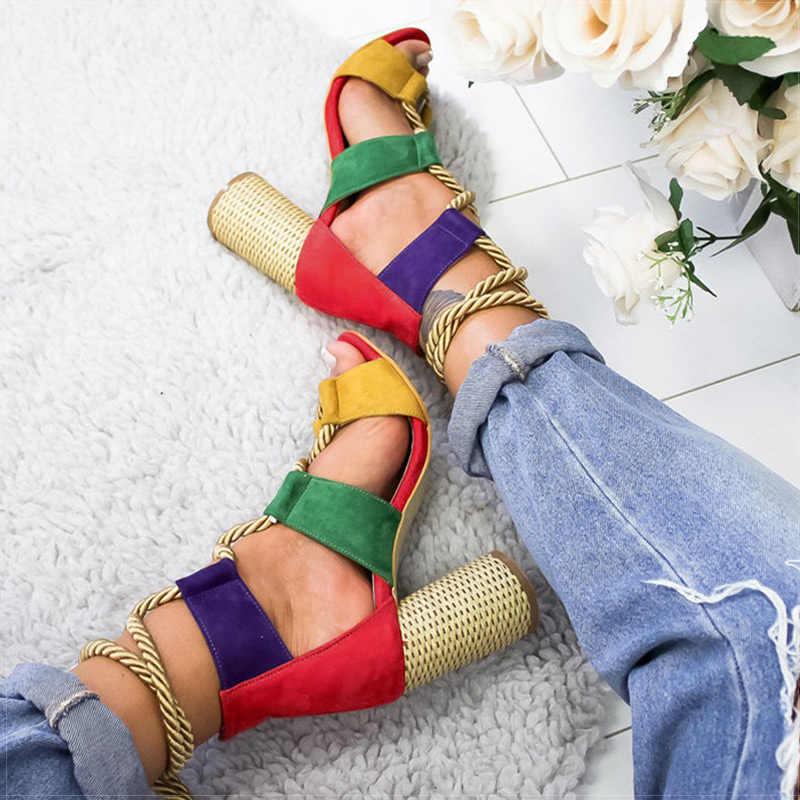 Phụ nữ Bơm Buộc dây Giày Cao Gót Nữ Võ Sĩ Giác Đấu Dép Xăng Đan Cho Đảng Giày Cưới Người Phụ Nữ Mùa Hè Giày Xăng Đan Dày Gót Chaussures Femme