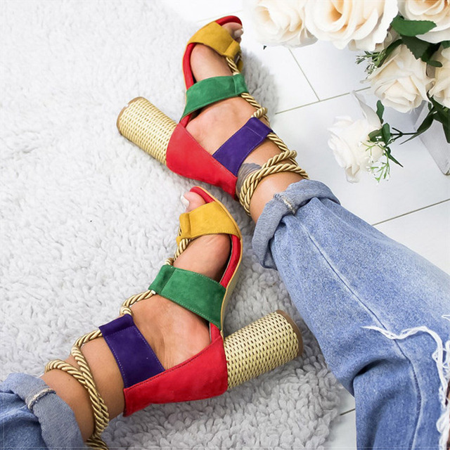 Women Pumps Lace Up High Heels Women Gladiator Sandals For Party Wedding Shoes Woman Summer Sandals Thick Heels Chaussures Femme 1