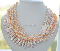 5strands 25mm Pink Biwa Rice Freshwater Cultured Pearl Necklace 17inch