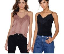 JOYINPARTY Sexy Boho Top V Neck Camisole Tank Top 2017 Summer Women Tops Patchwork Camis Lace Tops Tees Female blusa Bralette