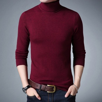 2019 New Sweater Fall Solid Color High Collar Slim Young Joker Fashion Mens Sweaters Turtleneck Men