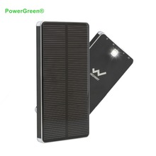 PowerGreen 10000mAh Solar Charger 2-Port USB Solar Power Bank External Battery Pack charger for Phone with LED light(China)