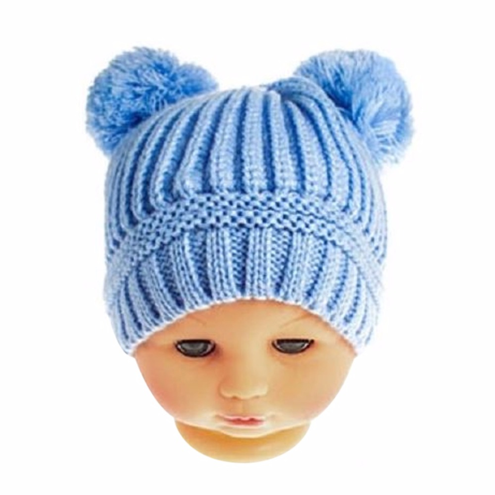 Cute 2017 Winter Double Balls Hat Baby Kids Girls Boys Newborn Crochet Knitted Hats Skullies Caps Children Pompom Beanies Hat F3 newborn kids skullies caps children baby boys girls soft toddler cute cap new sale