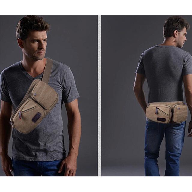 Saco Da Cintura Dos Homens novos da Marca Com o Telemóvel do Bolso Dos Homens Da Lona Do Vintage Saco de Equipamento Militar Fanny Pacote de Viagem dos homens sacos