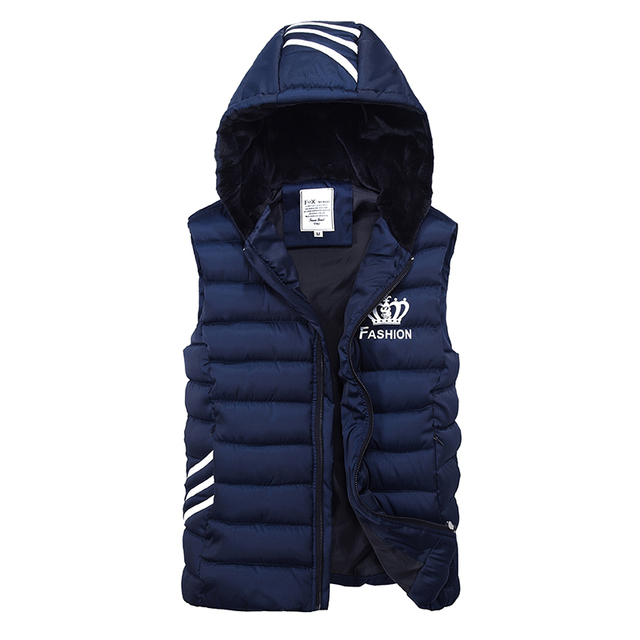 Vest Winter New 2016 Autumn Winter Casual Hooded Vests Men High Quality Cotton-padded Waistcoat Sleeveless Jacket